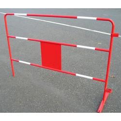 Barriere de travaux L 150 cm rouge avec 6 bandes blanches