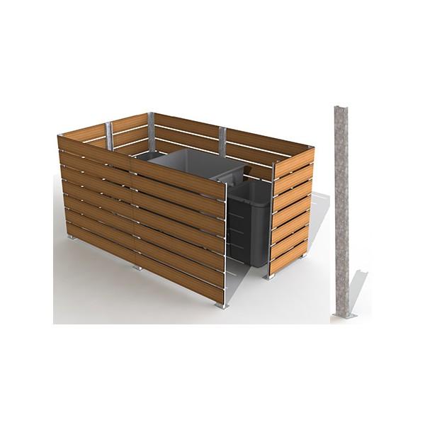Poteau galva angle cache conteneur 7 lames H 157 cm
