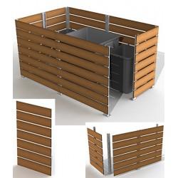 Module cache conteneur L 100 x H 157 cm motif teck