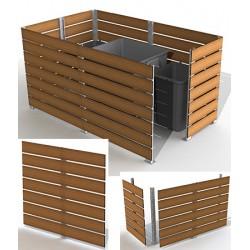 Module cache conteneur L 200 x H 157 cm motif teck