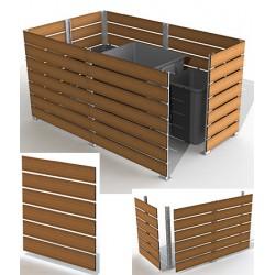 Module cache conteneur L 150 x H 135 cm motif teck