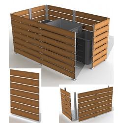 Module cache conteneur L 150 x H 157 cm motif teck