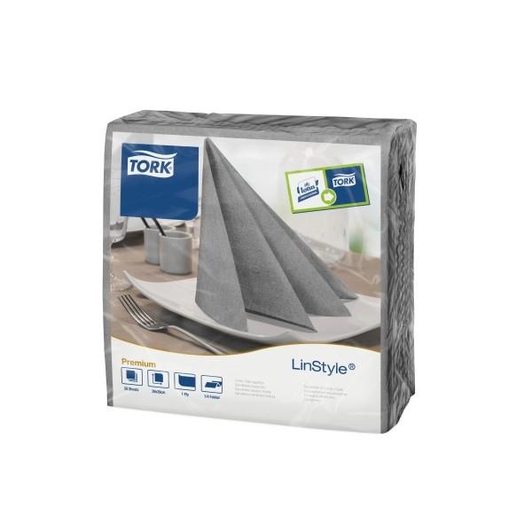Carton de 12 paquets de 60 serviettes 39 x 39 cm Tork Premium Linestyle gris