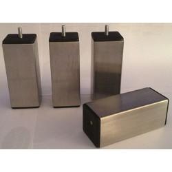 Pied carré inox h 20 cm pour sommier section 60 mm