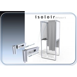 Isoloir montage facile structure alu rideau PVC M1 case initiale 100% recyclable