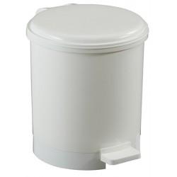 Poubelle à pédale ronde polypropylène blanc 6 L