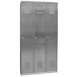 Vestiaire Inox industrie propre 3 cases sur socle L90 x P49 x H 180 cm