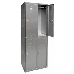 Vestiaire multicase Inox 2 colonnes 4 cases L60 x P49 x H180 cm