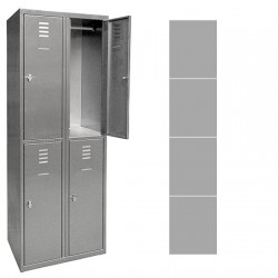 Vestiaire multicase Inox 1 colonne 4 cases L30 x P49 x H180 cm
