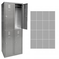 Vestiaire multicase Inox 4 colonnes 16 cases L120 x P49 x H180 cm