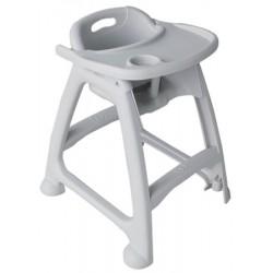 Chaise haute de bébé en polyethylène coloris gris l61,1 x p54,8 x h73,9 cm