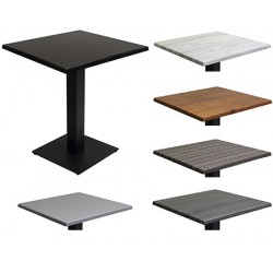 Lot de 2 tables piétement acier Entry et plateau Wersalit bois stratifié moulé 60x60 cm