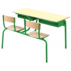Table scolaire avec siège attenant Alice biplace 130x50 cm stratifié