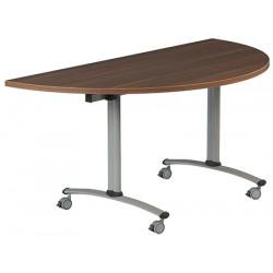Table rabattable à dégagement latéral Amélie demi lune 140x80 cm mélaminé