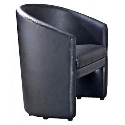 Fauteuil club Charlotte 1 place simili cuir noir L64 x P59 x H75 cm