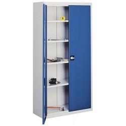 Armoire haute d'atelier à portes battantes 4 étagères L120 x P43,5 x H 199 cm