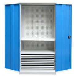 Armoire d'atelier Techno 3 étagères 1 coffre L95 x P50 x H195 cm