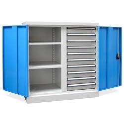 Armoire d'atelier basse Techno avec séparation médiane 2 étagères 4 tiroirs L95 x P50 x H100 cm