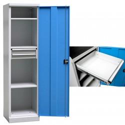 Armoire d'atelier Techno 3 étagères 2 tiroirs L50 x P50 x H195 cm
