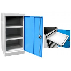 Armoire d'atelier basse Techno 1 étagère 3 tiroirs L50 x P50 x H100 cm
