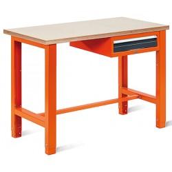 Etabli léger plat bois vernis ép 30 mm 1 tiroir L124,5 x P62 x H85/90 cm