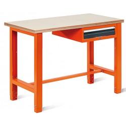 Etabli léger plat bois vernis ép 30 mm 1 tiroir L176,5 x P62 x H85/90 cm