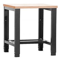 Etabli lourd plat bois vernis ép 40 mm L80 x P70 x H85/90 cm