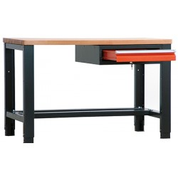Etabli lourd plat bois vernis ép 40 mm 1 tiroir L140 x P70 x H85/91 cm
