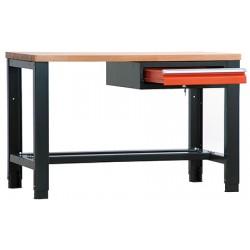 Etabli lourd plat bois vernis ép 40 mm 1 tiroir L200 x P70 x H85/91 cm
