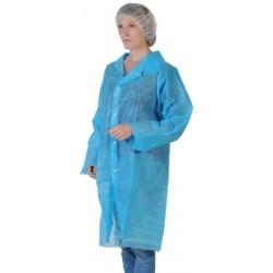 Blouse bleu clair à pressions sans poche sans élastique (le carton de 50)