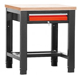 Etabli lourd plat hêtre vernis ép 40 mm 1 tiroir L80 x P70 x H85/91 cm