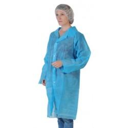 Blouse bleu clair à pressions sans poche avec élastique (le carton de 50)