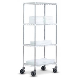 Rayonnage modulable High Racks mobile 4 tablettes chromé brillant L100 x P45 x H185 cm