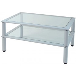 Table basse Tibo plateau verre 90x60 cm