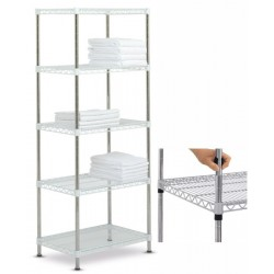 Rayonnage modulable High Racks fixe 5 tablettes blanches L70 x P45 x H170 cm