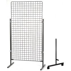 Paire de pieds à roulettes H 130 cm pour grille d'exposition modulaire