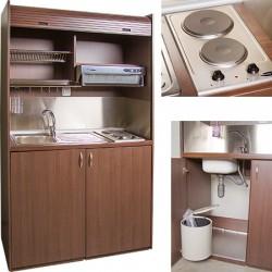 Mini cuisine équipée tout en un avec volet roulant L125 cm
