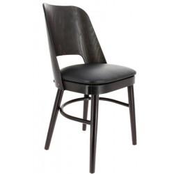 Lot de 2 chaises Colisée hêtre wengé et simili cuir noir