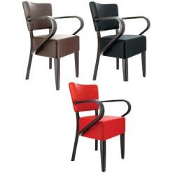 Lot de 2 fauteuils Amsterdam hêtre wengé et simili cuir