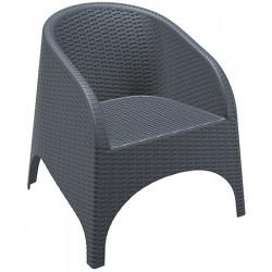 Fauteuil empilable Lounge gris foncé