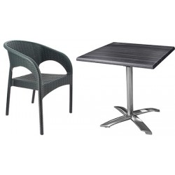 Ensemble 5 tables Pied Ugine basculant alu plateau Werzalit 70 x 70 cm et 10 fauteuils Panama