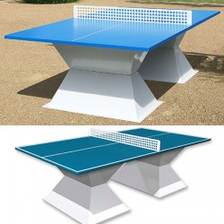 Table de ping pong antichoc espaces publics plateau HD 35 mm bleu lagon
