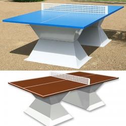Table de ping pong antichoc espaces publics plateau HD 35 mm terre battue