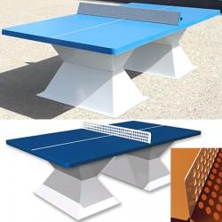 Table de ping pong antichoc espaces publics plateau HD 60 mm bleu foncé