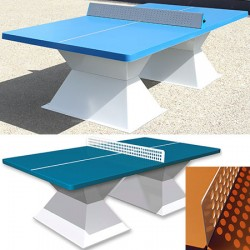 Table de ping pong antichoc espaces publics plateau HD 60 mm bleu lagon