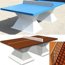 Table de ping pong antichoc espaces publics plateau HD 60 mm terre battue