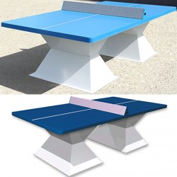 Table de ping pong antichoc espaces publics plateau HD 60 mm filet sécurit bleu foncé