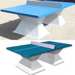 Table de ping pong antichoc espaces publics plateau HD 60 mm filet sécurit bleu lagon