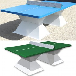 Table de ping pong antichoc espaces publics plateau HD 60 mm filet sécurit vert
