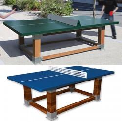Table de ping pong antichoc espaces publics pieds bois et plateau HD 60 mm bleu